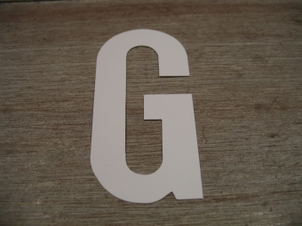 "Duikgoed Letter Sticker wit ""G"""