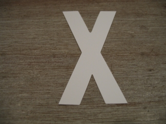 "Duikgoed Letter Sticker wit ""X"""