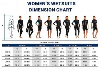 Maattabel cressi lady suits